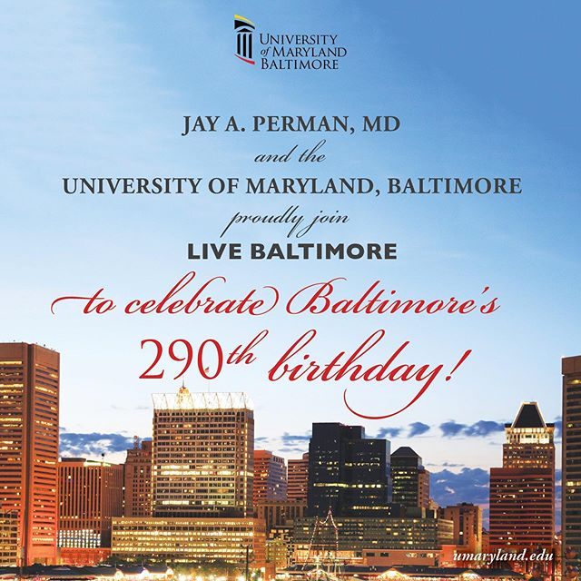 President Jay A. Perman, MD, and all of us at UMB are proud to join @livebaltimore in celebrating #Baltimore's 290th birthday! 🎉 UMB and our community partners focus on revitalization and stabilization in Southwest Baltimore. UMB's Live Near Your Work Program showcases our commitment to the community by providing financial assistance and support to encourage employees to live in Baltimore.Join the celebration this Friday, July 26 from 7-10 p.m. @theassemblyroom. To purchase tickets, visit livebaltimore.com/bash. #iheartcitylife